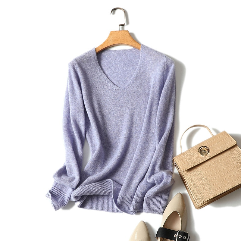 Shuchan Thin Women's Cashmere Sweater Korean V-Neck Korean Top Warm Computer Knitted Casual Solid  Cute Sweater enlarge