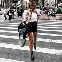 pu high waist bow tie wide leg shorts with belt harajuku casual fashion sexy women black leather shorts gothic england style