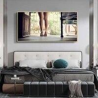 Peinture a lhuile modele a la mode  longues jambes  talons hauts  toile dart  salon  couloir  bureau  decoration murale de la maison