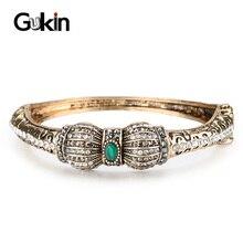 Gukin livraison gratuite grande taille femmes Bracelets Ellipse fleur creuse Antique or couleur strass Bracelet bijoux de luxe cadeaux