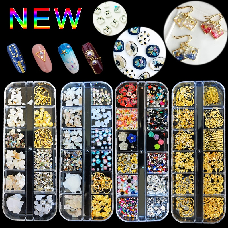 1Case Gold Silver Hollow 3D Nail Art Decorations Mix Metal Frame Nail Rivets Shiny Charm Strass Manicure Accessories Studs недорого