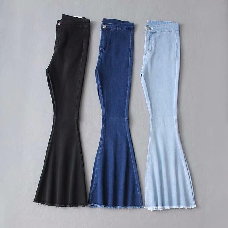 Women's pants 2021 New Summer traf High Waist Jeans Mom Stretch Female Flare Jeans For Girl Wash Denim Wide Leg Skinny Jeans y2k