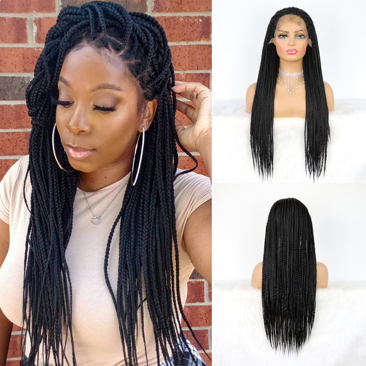 Micro Braided Lace Front Synthetic Wig Heat Resistant Fiber Synthetic Twist Braid Half Hand Tied Front Lace Wig  with Baby Hair