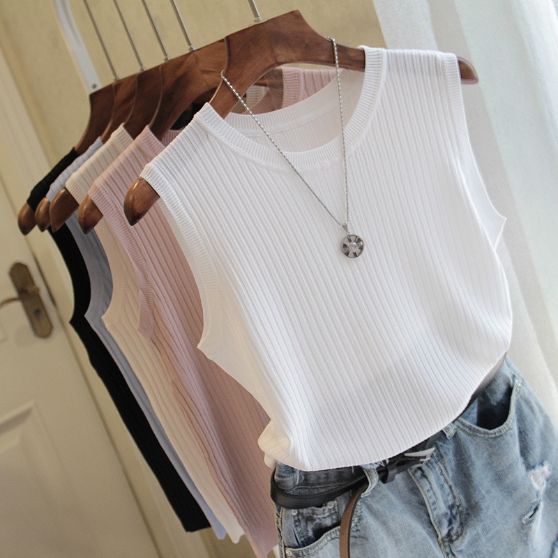 Fashion Woman Blouse 2021 Summer Sleeveless Blouse Women O-neck Knitted Blouse Shirt Women Clothes Womens Tops And Blouses C853