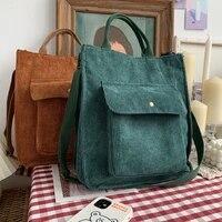 corduroy shoulder bag women vintage shopping bags zipper girls student bookbag handbags casual tote with outside pocket