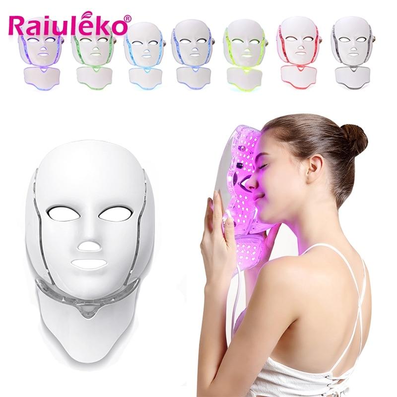 7 farben Elektrische Led Therapie Neck Gesichts Maske Haut Verjüngung Haut Anziehen Falten Akne Entfernung Bleaching Instrument