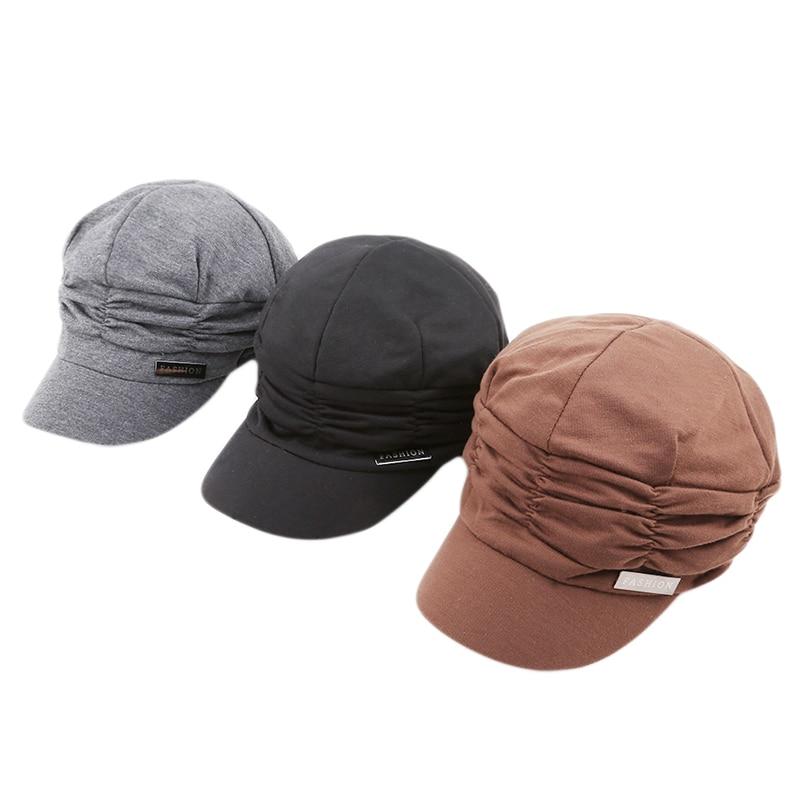 Warm Winter Korean Women Knited Hat Pleated Newsboy Cap Warm Outdoors Visor Skull Brown Cotton Casual Female Newsboy Caps