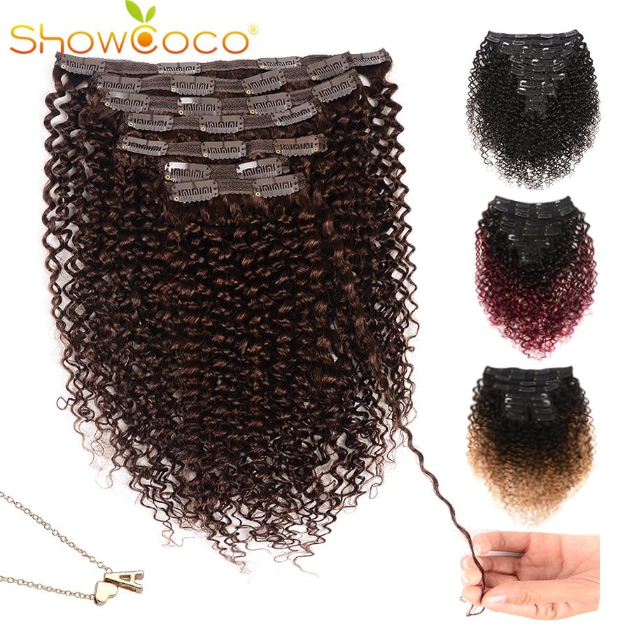 Showcoco Krullend Clip In Human Hair Extensions Voor Zwarte Vrouwen 10-24Inch Clip Ins-Machine Gemaakt Remy hair Extensions