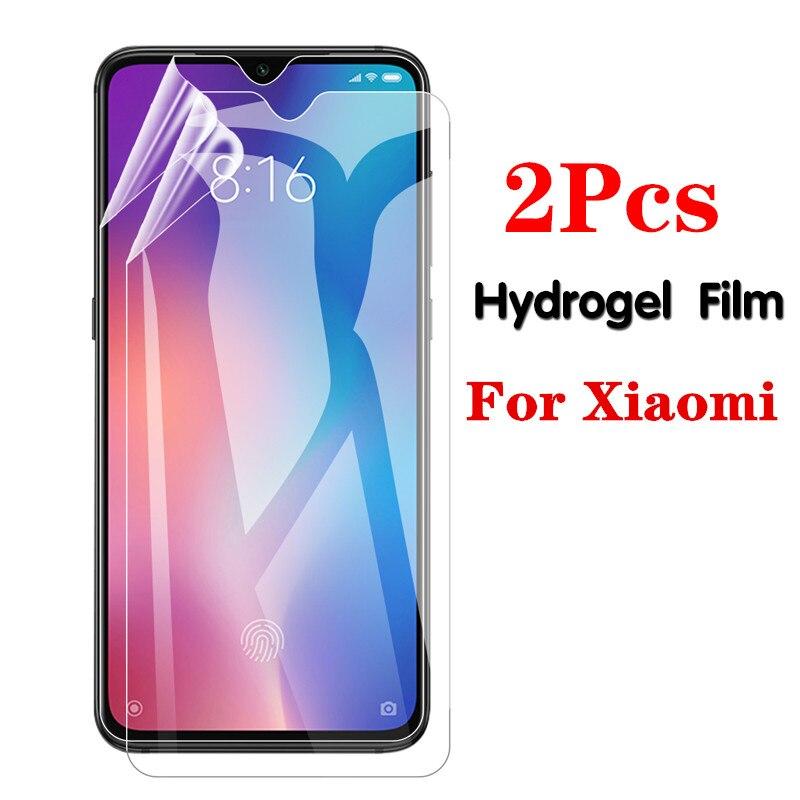 2 pçs filme de hidrogel macio para xiaomi redmi mi10 mi9 9 t se pro protetor de tela para xiaomi mi nota 10 pro max lite capa completa
