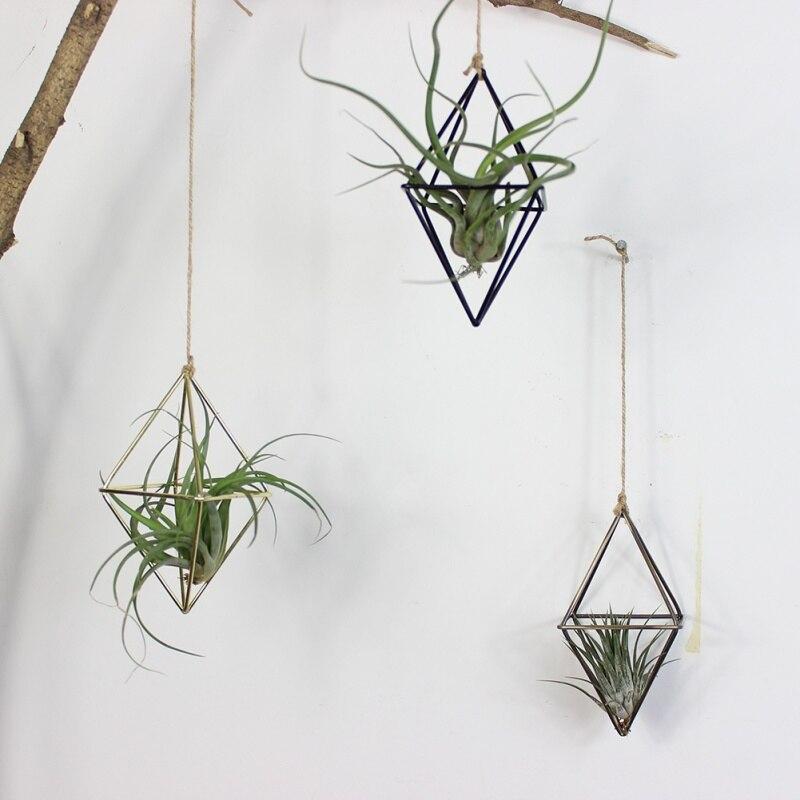 Отдельно стоящие подвесные плантаторы геометрические качели из кованого железа тилландсия воздушные растения держатель треугольной формы металлический стеллаж