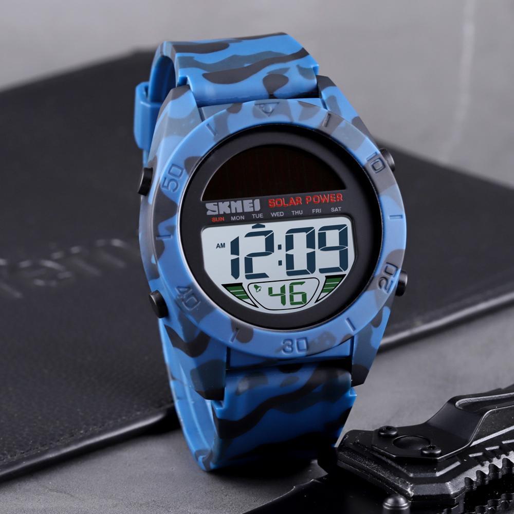 Fashion Solar Power Watch Sports Watch Men SKMEI Brand Chrono Alarm LED Digital Wristwatches Waterproof Student Military Watches