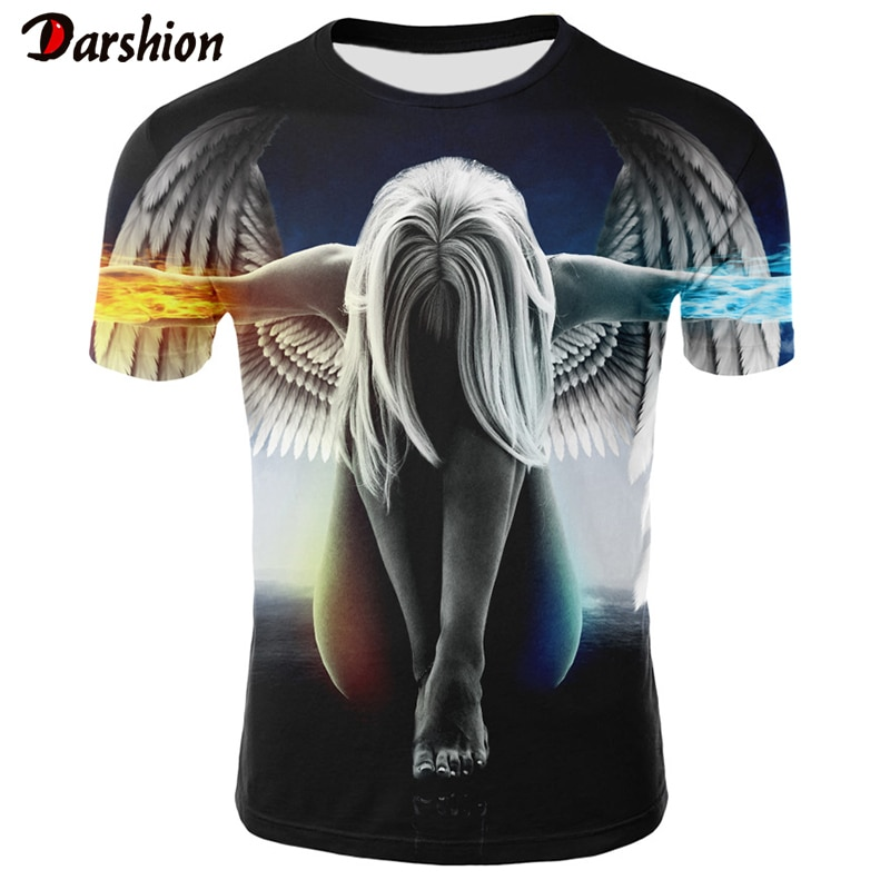 Camiseta con estampado 3d de Ángel a la moda, camiseta de manga corta con cuello redondo para hombres y mujeres, ropa de calle, camiseta de marca Hip-Hop, Camisetas estampadas en 3d