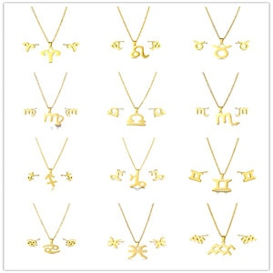 Small Stainless Steel All 12 Styles Horoscope Zodiac Constellations Sign Symbol Pendant Chain Necklace Sets Choker For Women