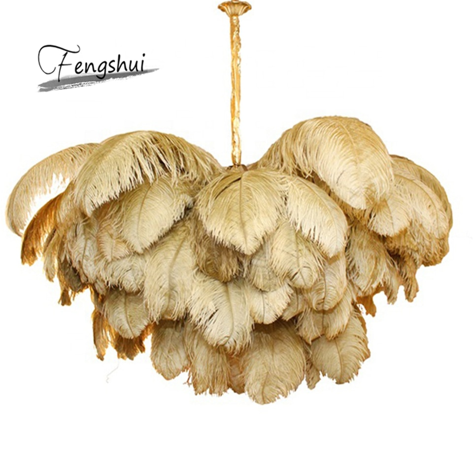 Nórdicos de plumas de avestruz LED colgante luces Villa colgante lámpara de casa habitación Decoración Accesorios de luz iluminación interior lámpara colgante