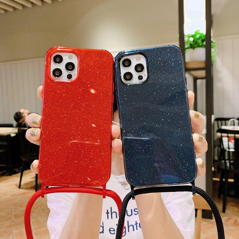 Glitter Necklace Crossbody Lanyard Strap Cord Chain phone case for iphone 12 Pro Max MiNi 11 Pro Max X XR XS Max 6S 7 8 plus