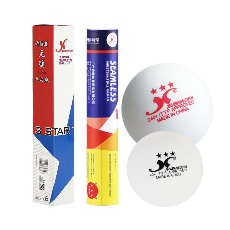 6 unids/caja XSF súper duradero de plástico ABS de pelotas de tenis de mesa 40 + sin costura de 3 estrellas pelota de Ping Pong ITTF aprobado pelotas de tenis de mesa