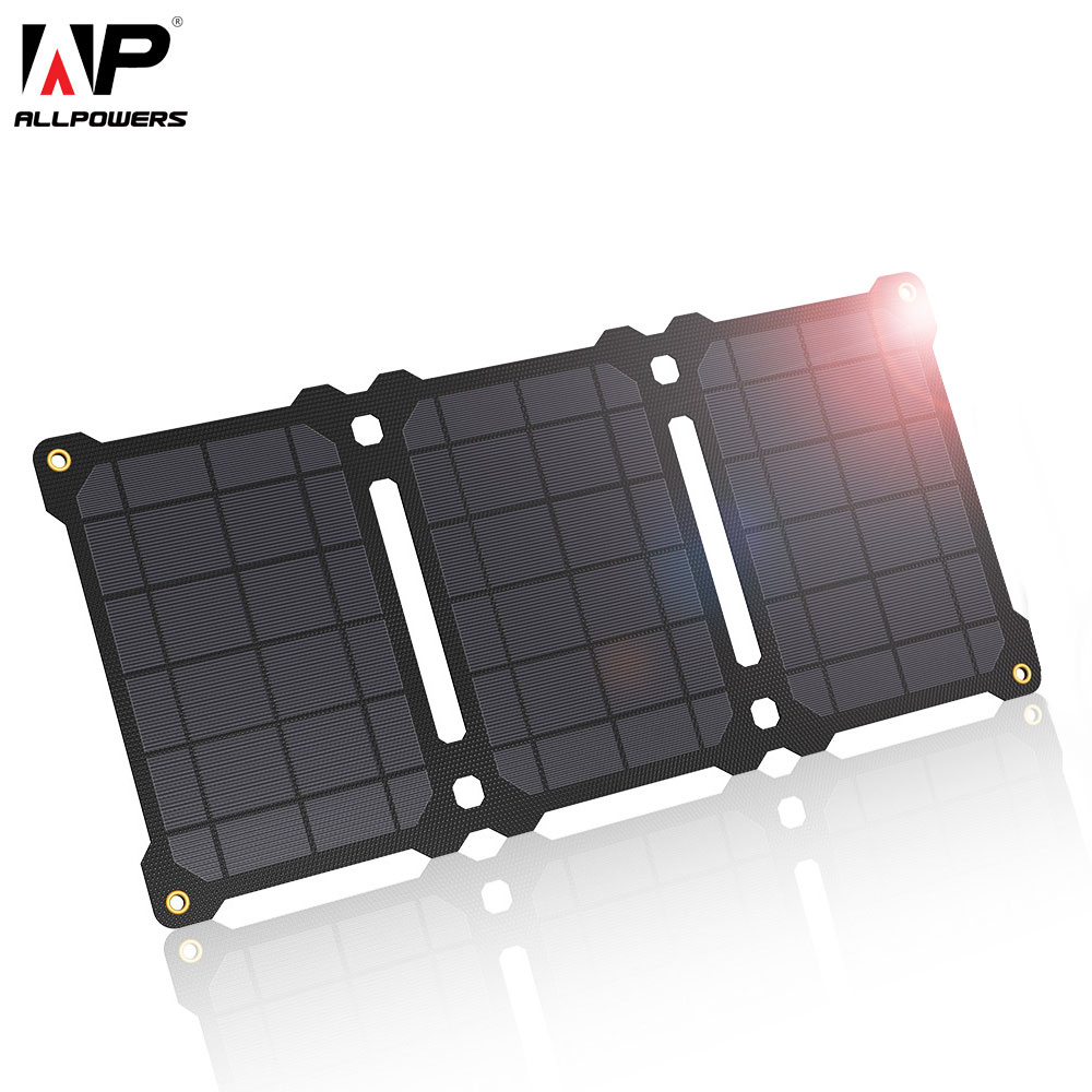Allforce شاحن بالطاقة الشمسية 21 واط مقاوم للماء ETFE لوحة طاقة شمسية مع تكنولوجيا العزل ، منافذ USB مزدوجة التخييم في الهواء الطلق شاحن