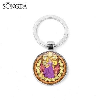 SONGDA Tangled Rapunzel Keychain Cartoon Movie Princess Glass Cabochon Key Chain Toy Pendant Key Ring for Children Birthday Gift