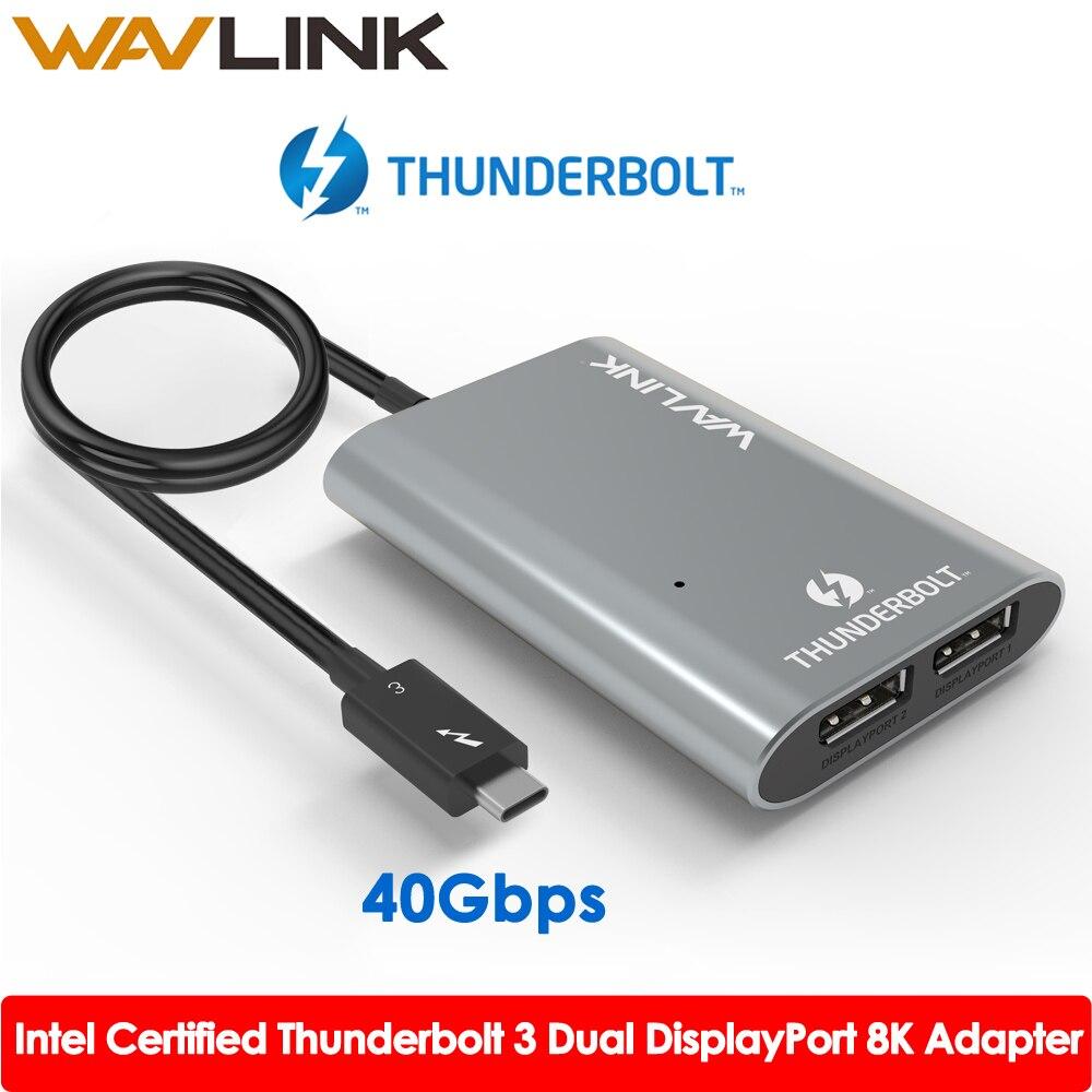 Intel certificou thunderbolt 3 tipo c usb3.1 duplo displayport até 8 k super velocidade usb hub adaptador para portátil/desktop wavlink