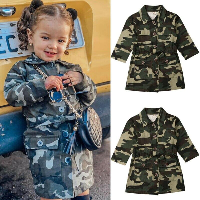 Moda çocuk ceket 2019 yeni varış çocuklar Toddler bebek kız uzun kollu kamuflaj ceket Casual Camo uzun diz ceket dış giyim