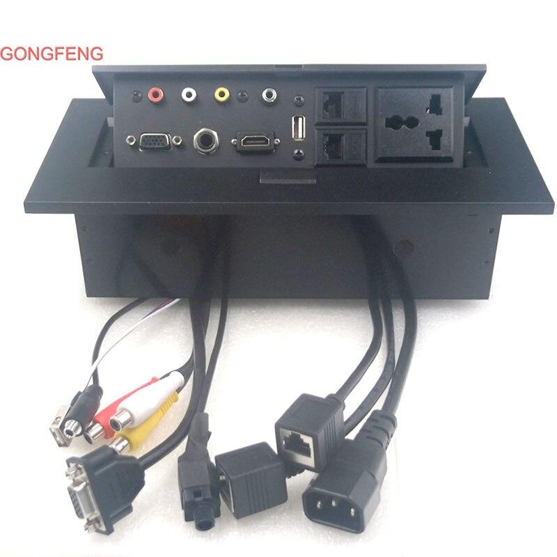 GONGFENG-مقبس طاقة عالمي للوسائط المتعددة K518 ، صندوق اتصال مجاني ، AV ، VGA ، جديد