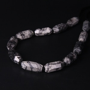 """15.5""""strand Faceted Black Picasso Jaspers Long Size Nugget Loose Beads,Cut Stone Quartz Pendants Connectors Jewelry Craft Making"""