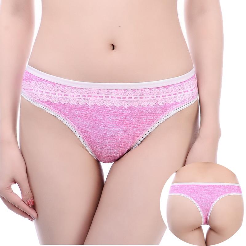 Sexis tangas de algodón con encaje para mujer, tangas braguitas cómodas, tangas de XS-M de talla grande, lencería estampada para mujer, tangas de 6 colores