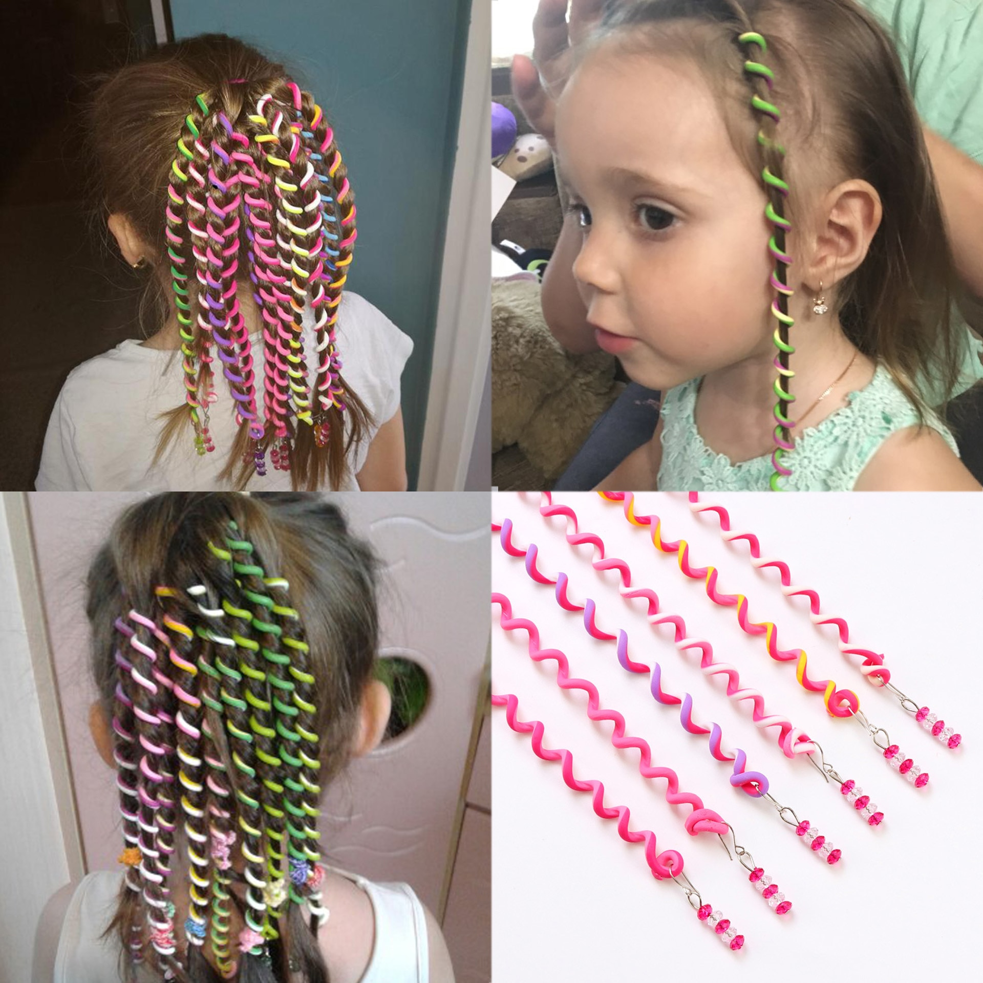 6 pcs arco-íris cor bandana bonito meninas faixa de cabelo cristal longo elástico faixas de cabelo acessórios de cabelo cor aleatória
