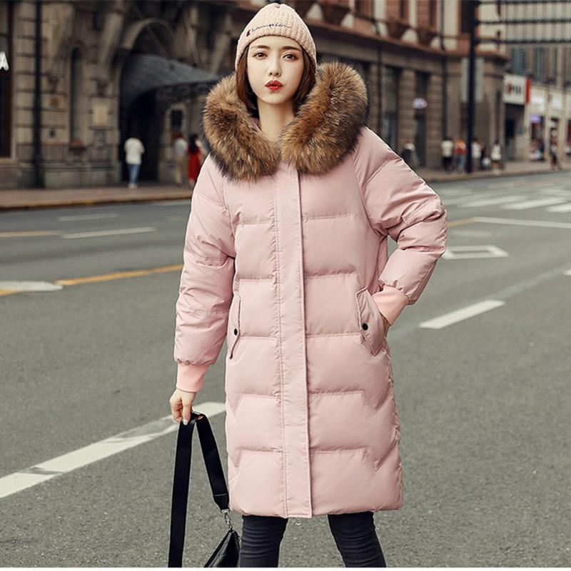 New Winter Down Jacket Women 2019 Fashion Raccoon fur collar Loose Long Thick Winter Down Coat Outerwear