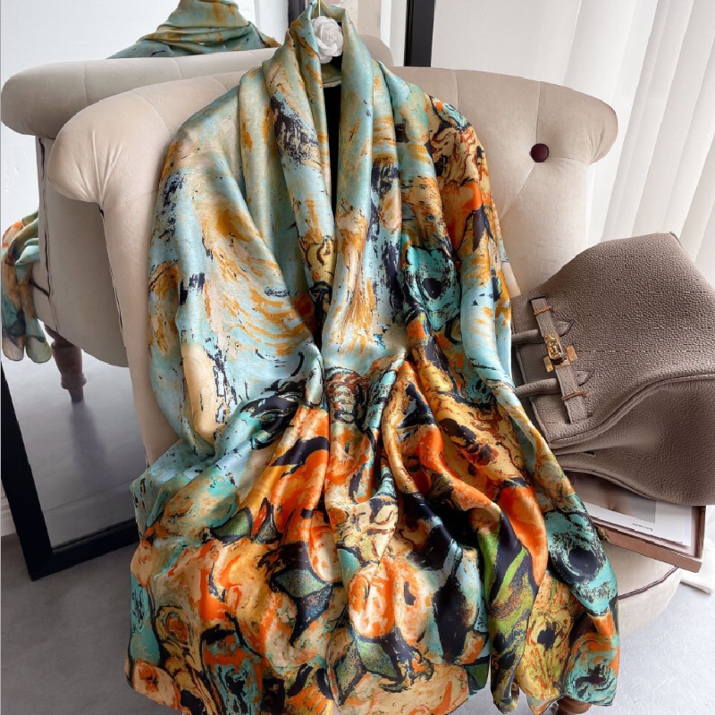 Фото - Весна-лето 2021дамский длинный шарф шелковый шарф шаль цифровая окрашенная шаль Ван Гог масляная Женская шелковый шарф шаль женщин лето солнце