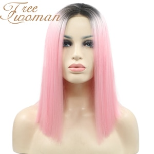 FREEWOMAN Synthetic Lace Front Wig Straight Hair Bob Wigs Ombre Color and Pink Color Lace Frontal Cosplay Short Wigs For Women