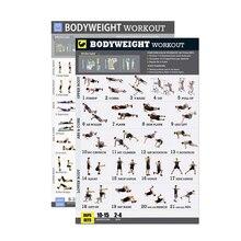 Conjunto de poster de exercício de peso corporal laminado 2 gráfico conjunto de exercícios de peso corporal para ginásio em casa fitness