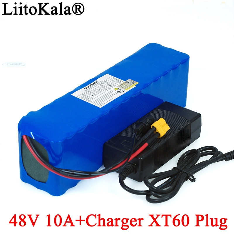 LiitoKala-بطارية ليثيوم أيون للدراجة الكهربائية ، مجموعة تحويل الدراجة الكهربائية ، 48v ، 10ah ، 18650 ، 1000w ، موصل XT60 ، شاحن 54.6v ، 2A