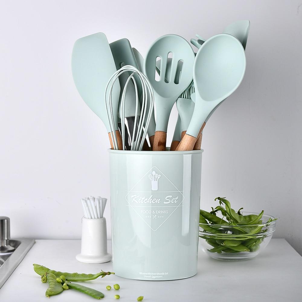 أدوات مطبخ من السيليكون أدوات الطبخ مجموعة مقاومة للحرارة المطبخ غير عصا مجموعة أدوات المطبخ عدة أواني اكسسوارات المطبخ