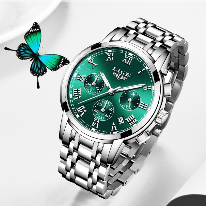 2021 LIGE Ladies Watches Top Brand Luxury Fashion Stainless Steel Watch Women Chronograph Quartz Clock Waterproof Wristwatch+Box enlarge
