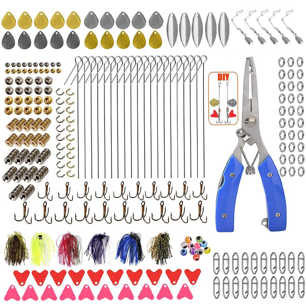 257 قطعة ملعقة الصيد إغراء عدة مع سبينر الطعم المعادن الترتر خطاف ثلاثي العقص كماشة باس تهزهز تلاعب الصيد إغراء اكسسوارات