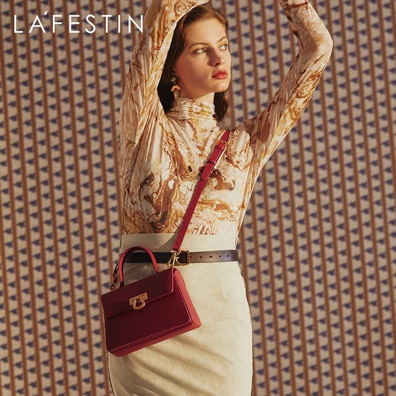 LA FESTIN-حقيبة كتف جلدية صغيرة ريترو ، حقيبة كتف عصرية ، حقيبة كتف نسائية ، 2020