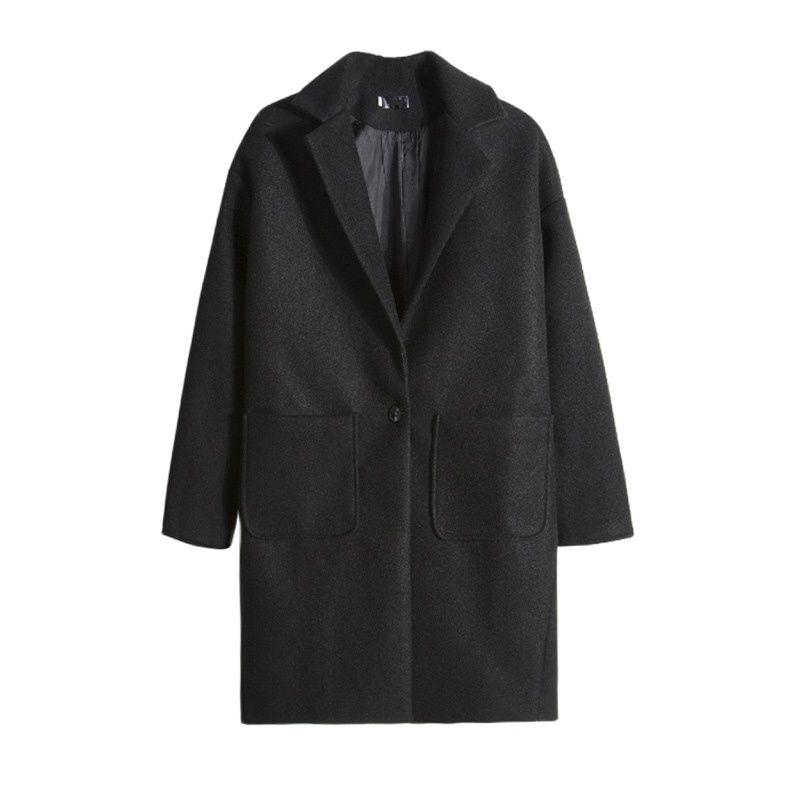 معطف رجالي عصري سميك دافئ ممزوج بلون سادة فضفاض طية صدر السترة سترة واقية 2021 خريف وشتاء رمادي Harajuku ملابس 2XL