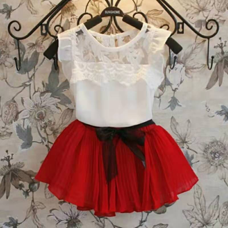 Chiffon Girls Clothing Set blanco verde rojo Lace Shirts falda tutú 2 uds trajes para niñas niños bebé verano ropa para niños