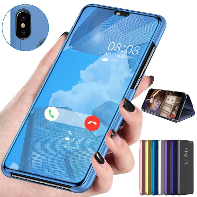 Funda de cuero con espejo inteligente para Huawei P Smart 2018 FIG-LX1 L21 funda con tapa para Huawei P Smart 2019 POT-LX3 LX1