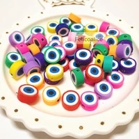 40pcs 10mm mixed colors evil eye round shape polymer clay beads for jewelry making diy handmade accessories