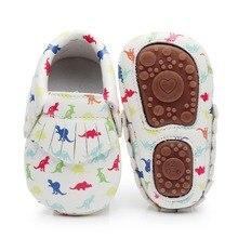 Детские мокасины из искусственной кожи, с жесткой подошвой, для маленьких девочек и мальчиков, с принтом динозавра, для новорожденных, с единорогом, для начинающих ходить, обувь, От 0 до 4 лет