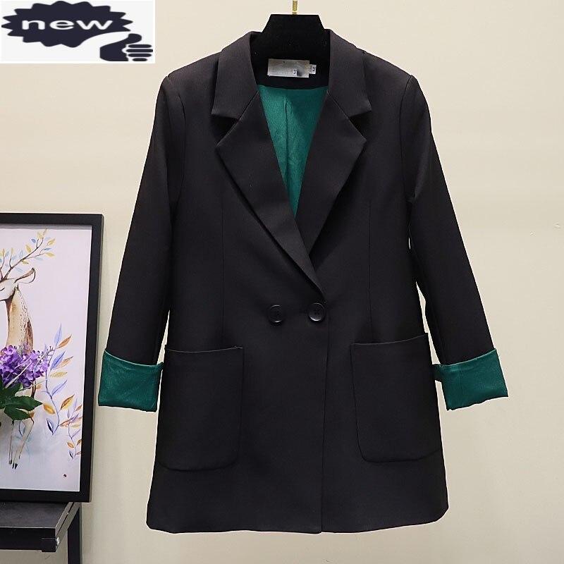 الأزياء الصلبة اللون النساء سترة الربيع أنيقة مكتب طويلة الأكمام سترة مزدوجة الصدر طية صدر السترة عارضة قصيرة معطف S-XL