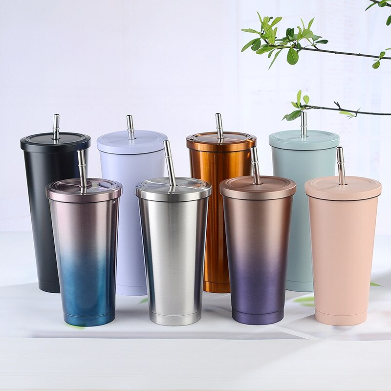 500ML700ML الفولاذ المقاوم للصدأ القش كأس معزول مع غطاء فنجان القهوة شرب كوب للسفر زجاجة تُرمُس كأس معدني