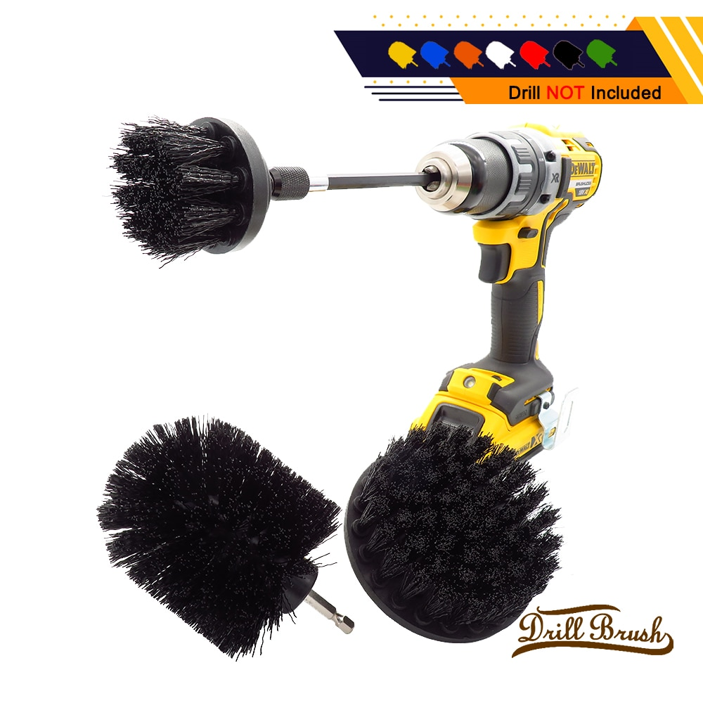 1 conjunto/4 pçs preto kit de escova de broca elétrica escova de limpeza redonda de plástico para o tapete de vidro pneus de carro escovas de poliuretano broca