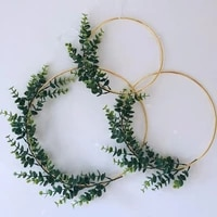 cyuan 10 40cm diy flower wreath hoop gold iron metal ring hanging garland decoration birthday party baby shower decorations