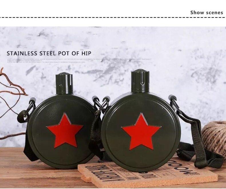 قوارير مياه خارجية عتيقة الطراز للجيش الصيني ، أواني شرب خضراء ، كرسي من الفولاذ المقاوم للصدأ ، قوارير الورك
