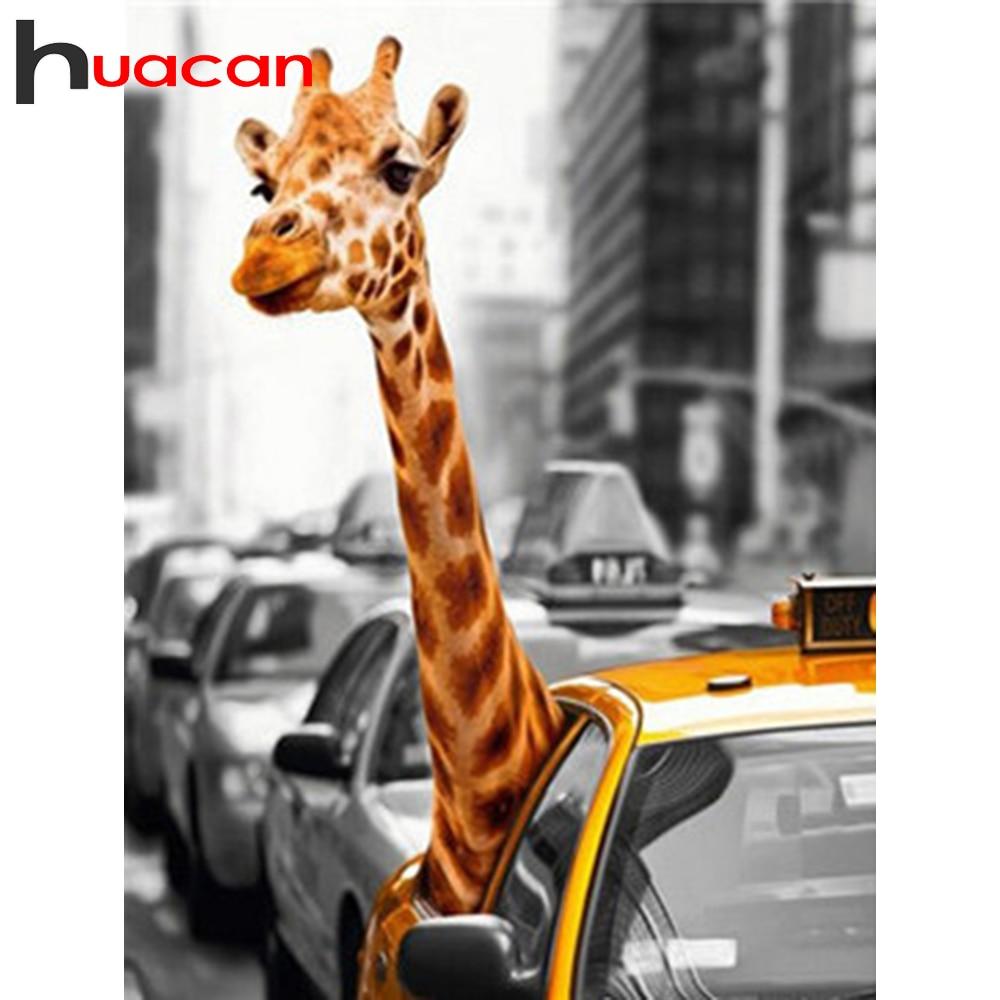 Huacan 5d Diy Diamond Painting Animal Diamond Art Full Drill Embroidery Giraffe Mosaic Car Scenery Home Decoration