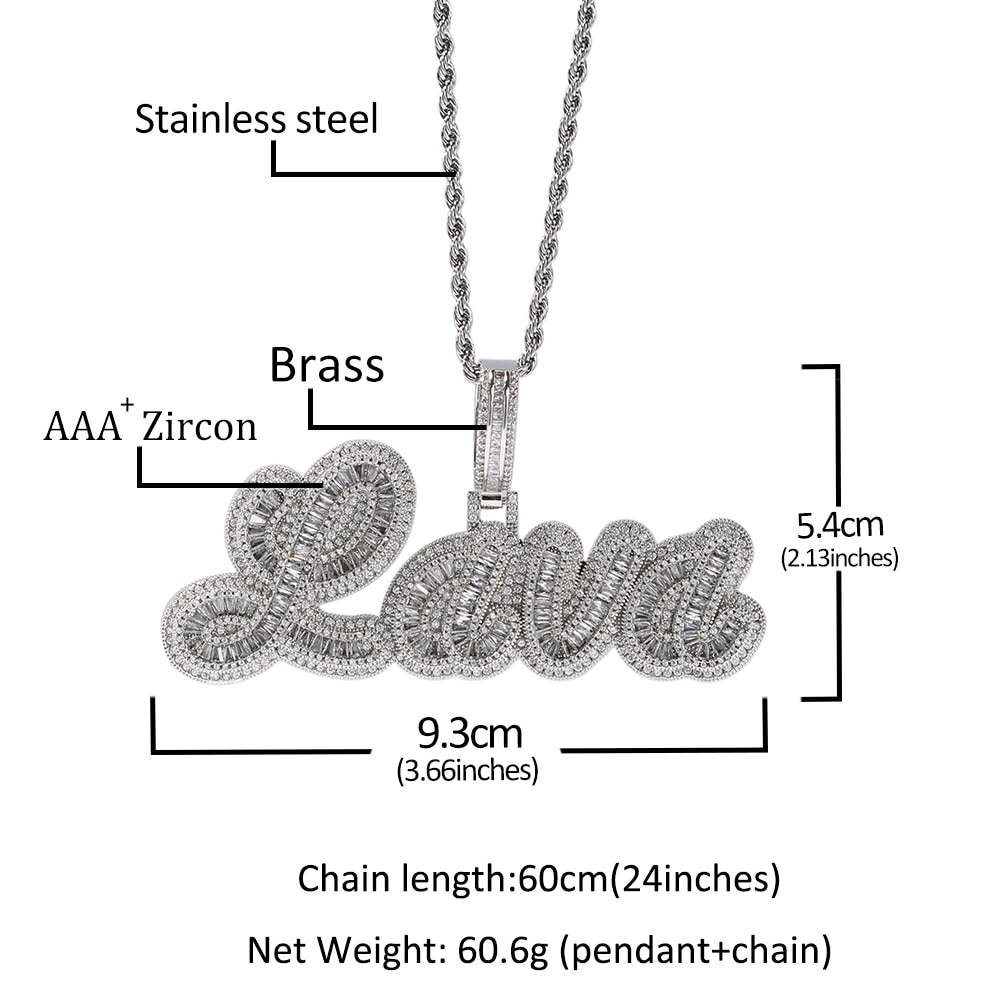 Uwin Custom CURSIVE Name Necklace Baguette Pendant Letters Customized  Full Iced Out For Men HipHop Jewelry Gift