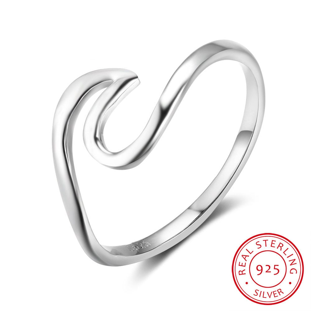 Women 925 Sterling Silver Rings Fine Jewelry Simple Style Minimalist Female Finger for Size 5 6 7 8 9 10